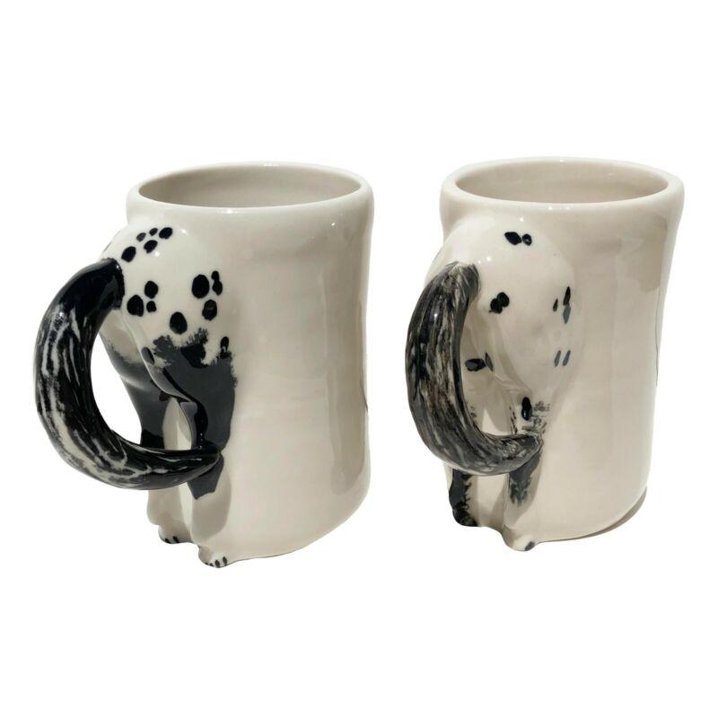 Vintage Happy Appy Valley Studio Horse Butt Art Pottery Cup Mug Ohio Set of 2