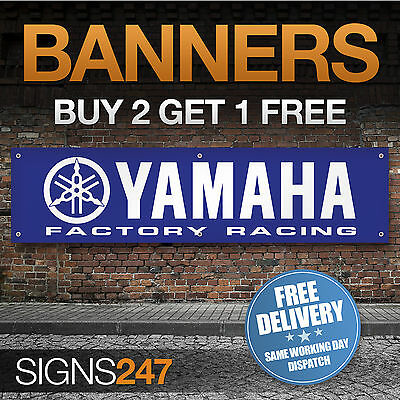 YAMAHA Motorcycles Factory Racing Logo garage workshop PVC banner sign (ZA079)