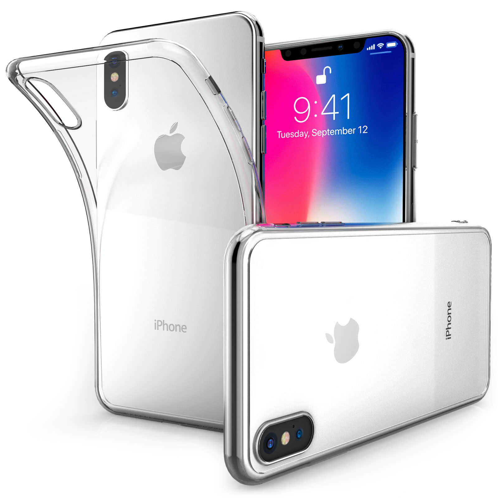 finest selection 3de94 f1e7e Details about Ultra Thin Silicone Case For The Apple iPhone X Clear TPU Gel  Back Phone Cover @