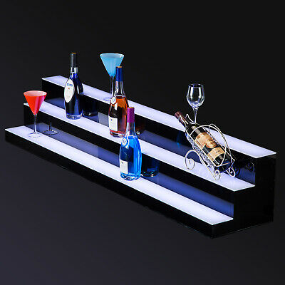 60 Led Lighted Back Bar Glowing Liquor Bottle Display Shelf Glowing 3 Step Tier