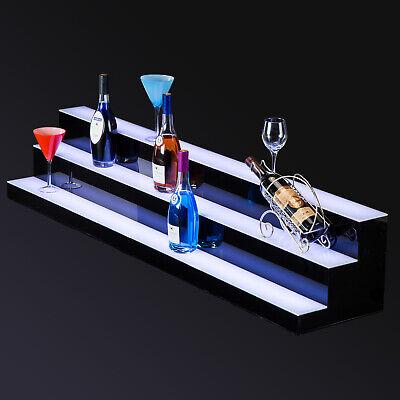 60 Led Lighted Back Bar Glowing Liquor Bottle Display Shelf Glowing 3 Step Tier