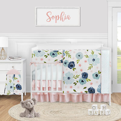 Navy Pink Watercolor Floral Baby Girl 5pc Nursery Crib Bedding Set by Sweet Jojo