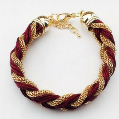alloy chain and leather twine bracelet bangle