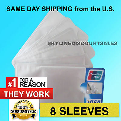 8 PACK HIGH LEVEL RFID Blocking Credit Card Sleeve Theft Protector Chip Shield