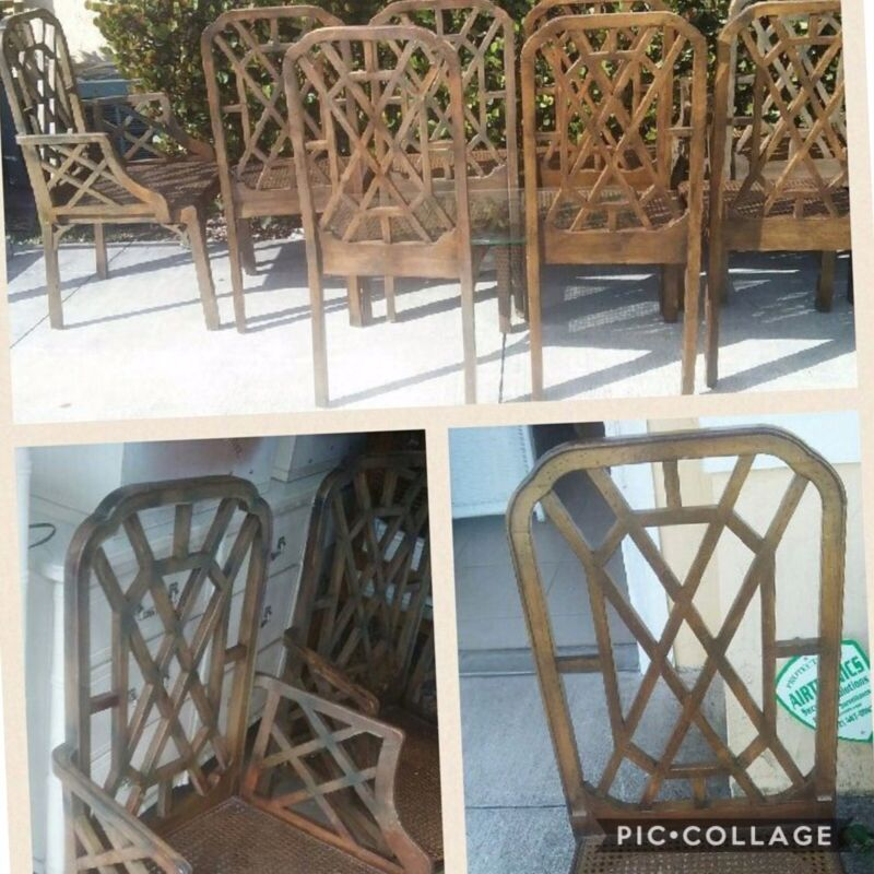 Fretwork Chinese Chippendale CANE SEATS DINING CHAIRS SET of 8 Palm Beach Decor