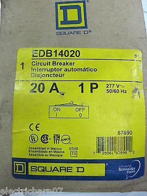 Square D Edb14020 1 20 Amp 1 Pole 277 Volt Circuit Breaker- New