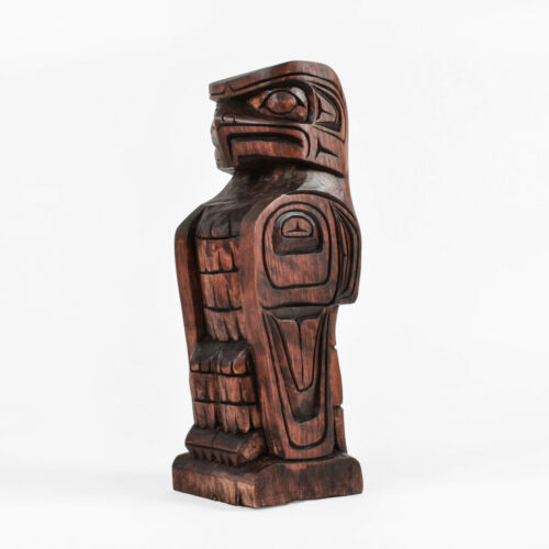 Model Totem Pole Hand-Carved Eagle Design Native American Art