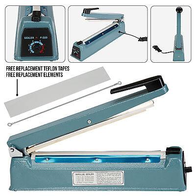 "12"" 300mm Manual Heat Sealing Impulse Sealer Machine Plastic Closer Teflon Wrap"