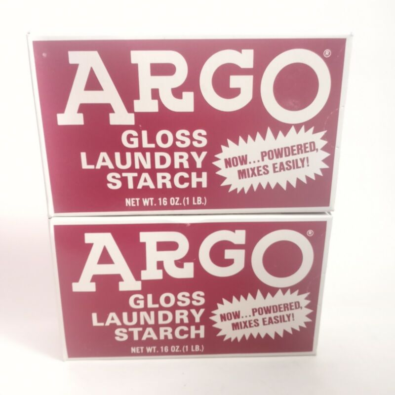 ARGO Gloss   Powder Laundry Starch   2 Boxes   16 oz each  Vintage New Old Stock