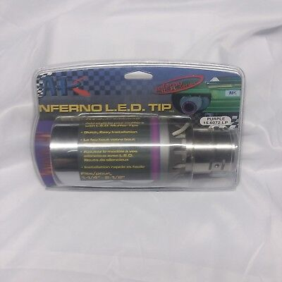 INFERNO APC LED EXHAUST PIPE TAIL MUFFLER TIP PURPLE FLAMES STAINLESS STEEL - Flames Stainless Exhaust Tip