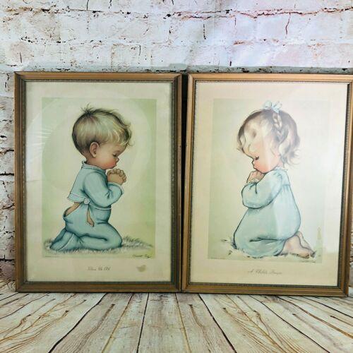 2 vtg Child praying prints nursery decor babys room pro framed under glass 17x13