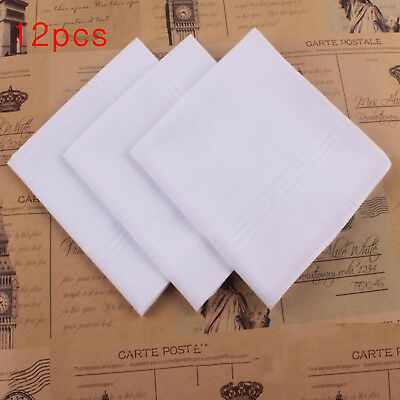 12pcs White Handkerchiefs 100% Cotton 40cm Square Soft & Washable Hankie Hanky