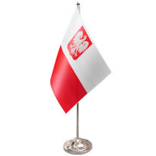 Poland State Satin & Chrome Premium Table Flag