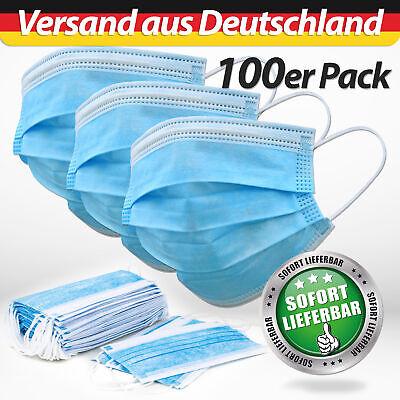 100x Einweg Mundschutz Atemschutz Gesicht OP Maske 3-Lagig Hygienemaske