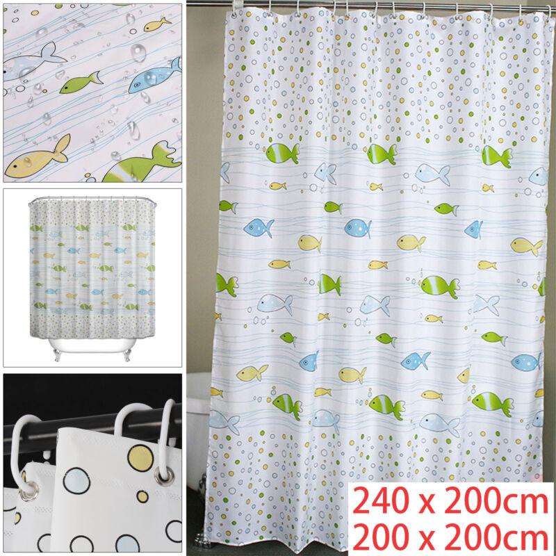 Modern Quality Fabric Shower Curtain Fish Bathroom 200 X 200cm 240
