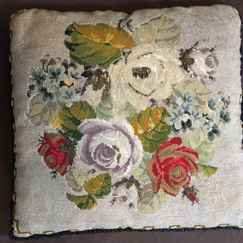 Antique Victorian Beaded  Berlinwork Pillow