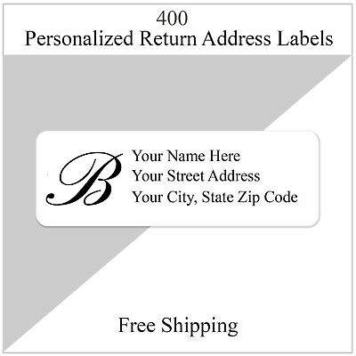 400 Return Address Labels Personalized Printed 12 X 1 34 Monogrammed