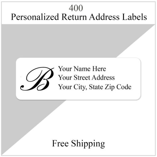 400 Monogrammed Return Address Labels Personalized Printed 1/2 Inch x 1 3/4 Inch
