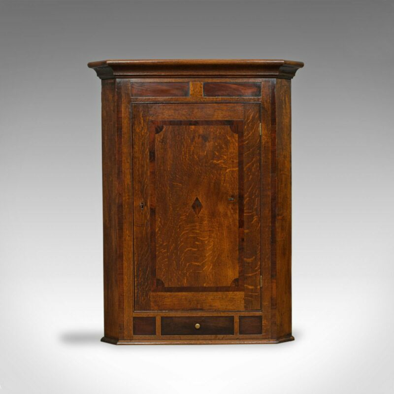 Antique Corner Cabinet, English, Georgian, Oak, Hanging, Wall Cupboard, c.1780