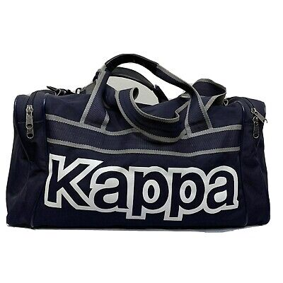 Vintage Kappa Gym Bag Duffle Backpack Tote Spell Out Soccer Tennis Navy White