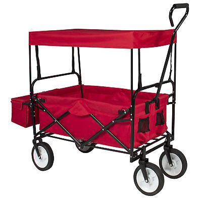 BCP Folding Utility Wagon Cart w/ 2 Cup Holders, Removable Canopy - Red