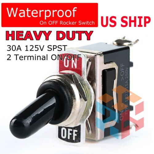 Toggle Switch Heavy Duty 20A 125V SPST 2 Terminal ON/OFF Car Waterproof Boot ATV