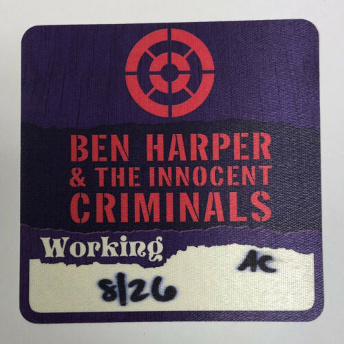 Ben Harper & the Innocent Criminals 2017 Tour Satin Local Crew Backstage Pass