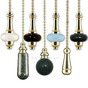 Light pull chain cord brass gold ceramic for bathroom