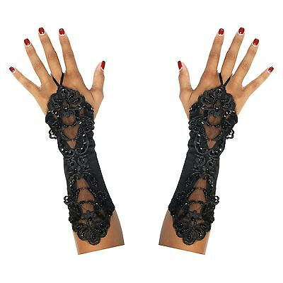 Long Finger Loop Halloween Gothic Steampunk Day of the Dead Gloves - Black - Long Fingered Gloves Halloween