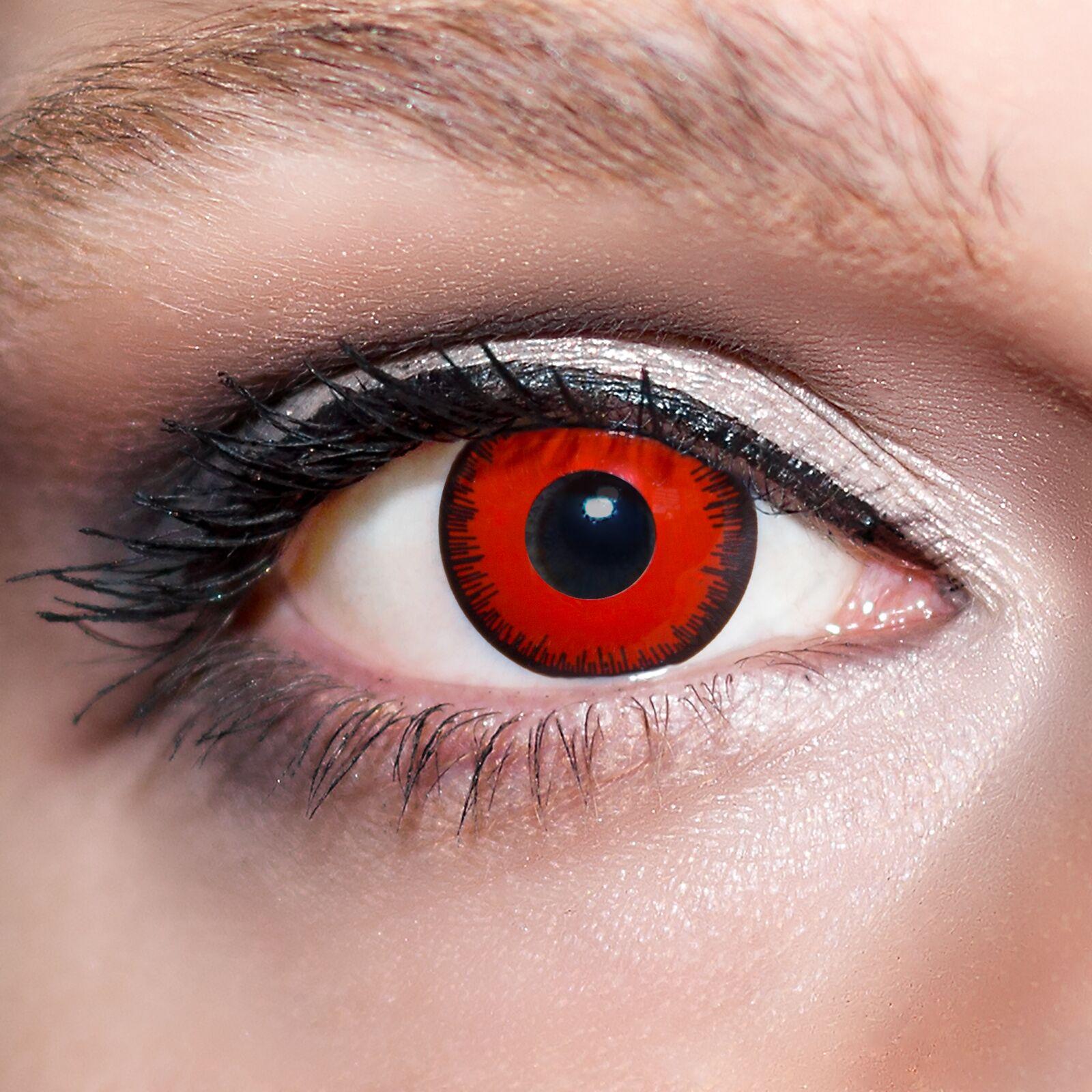 2 Rote Kontaktlinsen mit Behälter -Halloween- Vampir, mit + und - Stärken;K512P