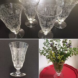 Antique Crystal Water Glasses - 4 glasses