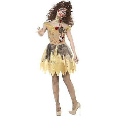 Zombie Golden Fairytale Yellow Belle Princess Womens Ladies Fancy Dress Costume