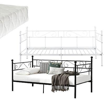 [en.casa] Tagesbett 90x200cm Metallbett Bett Daybed Bettsofa Kojenbett Matratze