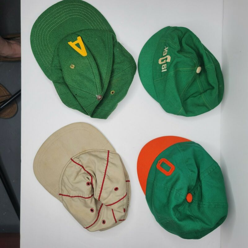 Vintage Childrens Baseball Girl Scout Hats Caps Lot Of 4