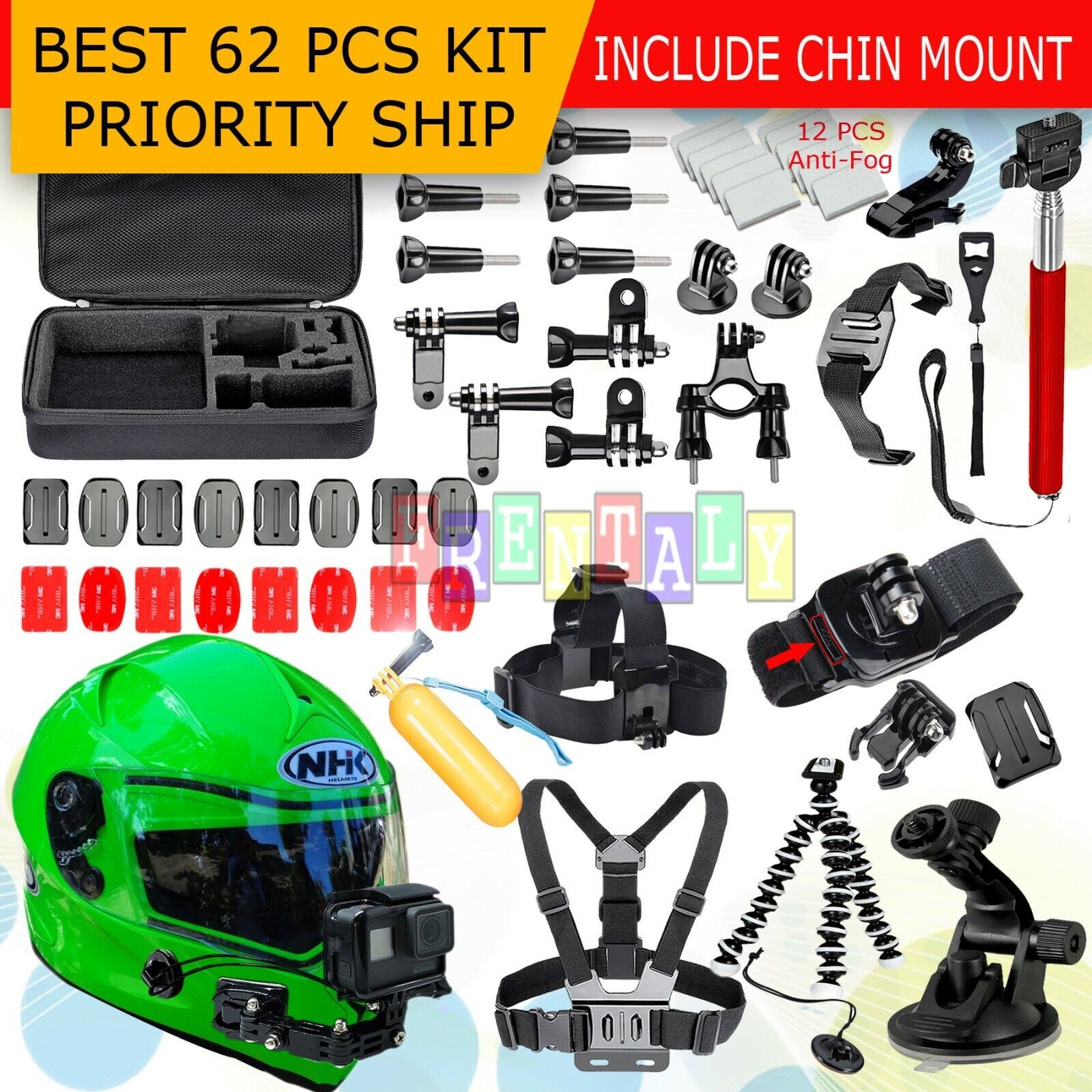 62in1 Head Chest Mount Floating Monopod Accessories Kit For