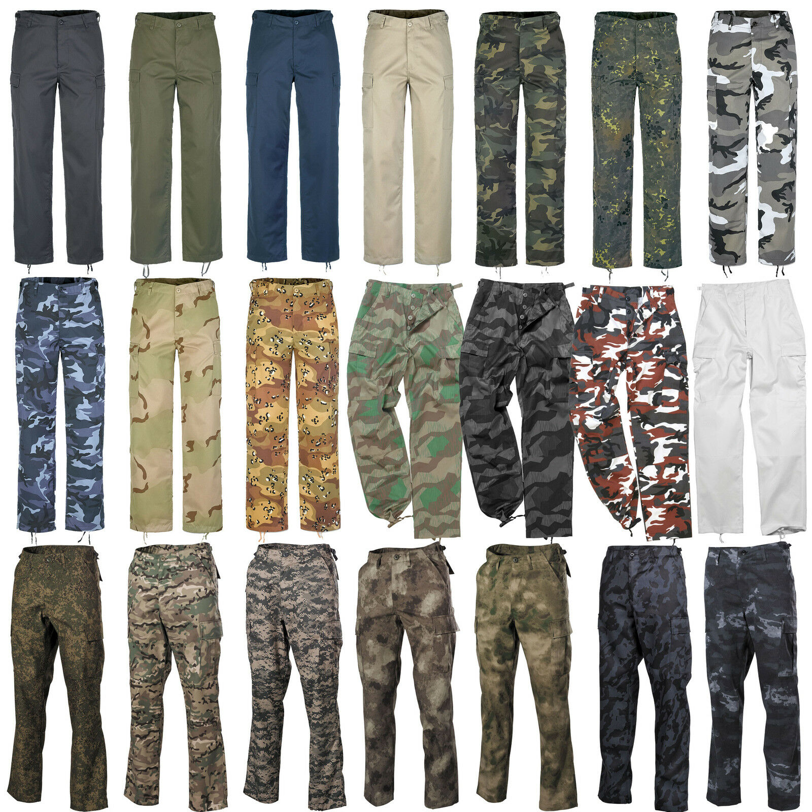 Herren Cargohose Army Cargo Militär Arbeitshosen Pants Camo Camouflage Hosen