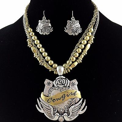 - Cowgirl Vintage Western Gold & Silver Winged Heart Rhinestone Necklace Earring
