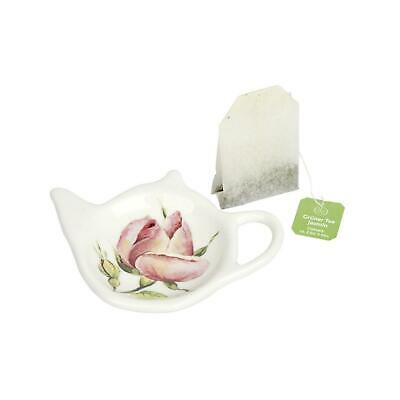 IHR New Rambling Rose Cream Porcelain Tea Bag Holder Plate Saucer Tableware Gift ()