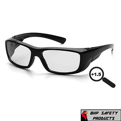 Retro Style Bifocal Magnification Safety Glasses with Side Shield 1.5x Magnification