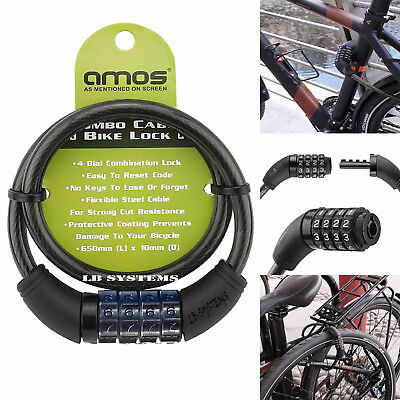 Amos Bicycle Bike Cycle Lock Re settable 4 Digit Dial Code Combination Security