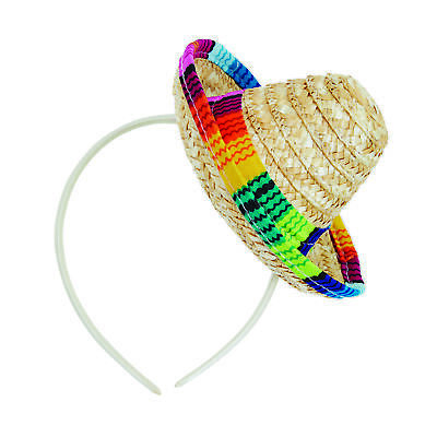 Sombrero Stroh Mini Hut auf Stirnband Mexikanisch Spanische Damen Kostüm Zubehör