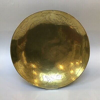 Vintage Chinese Brass Dragon Design Dish/wall Hanging 1920s