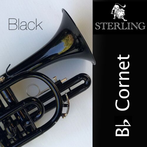 BLACK  Sterling Bb CORNET • With Carry Case • BRAND NEW • Pro Quality •