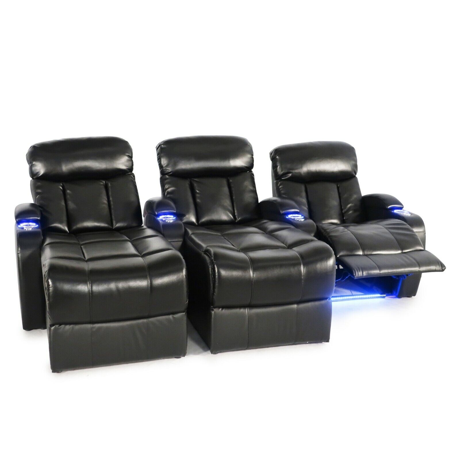 grenada home theater seating black leather gel