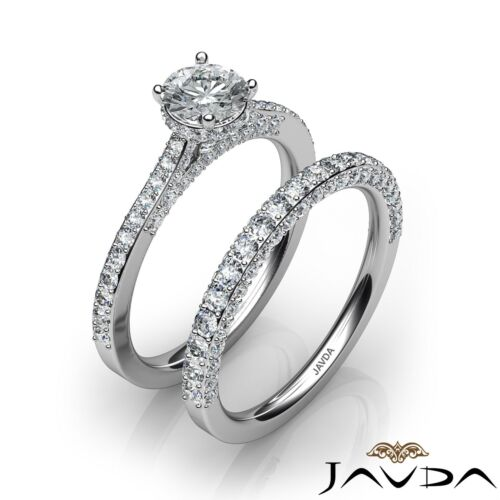 Round Shape Natural Diamond GIA E VS1 Platinum 2.15ct Bridal Set Engagement Ring