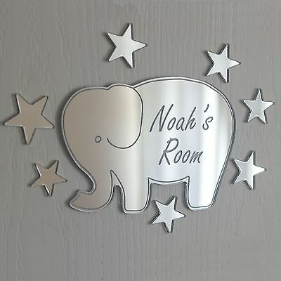 Boy Name Plaque (Elephant Mirror Personalised Door Name Plaque Boy Girls Bed Room Sign )