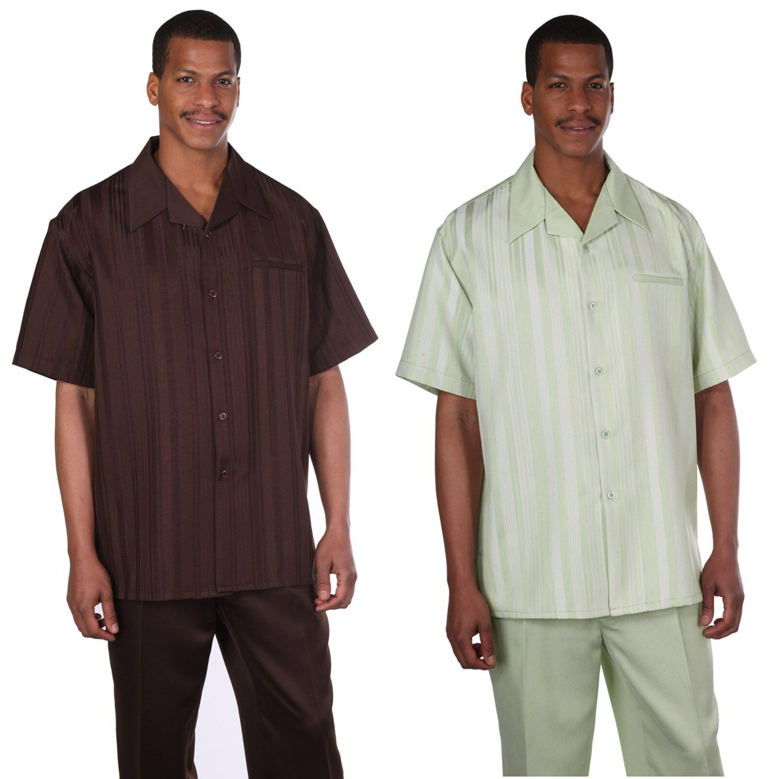 MEN'S SHORT SLEEVE TWO PIECE SET, CASUAL STRIPED WALKING