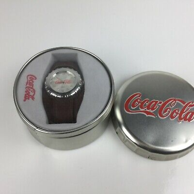Coca Cola Watch in Silver Tin Collectible Analog - Needs Battery