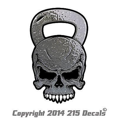 B1010 Kettlebell Skull Decal Sticker Car Truck SUV Van Crossfit fitness exercise