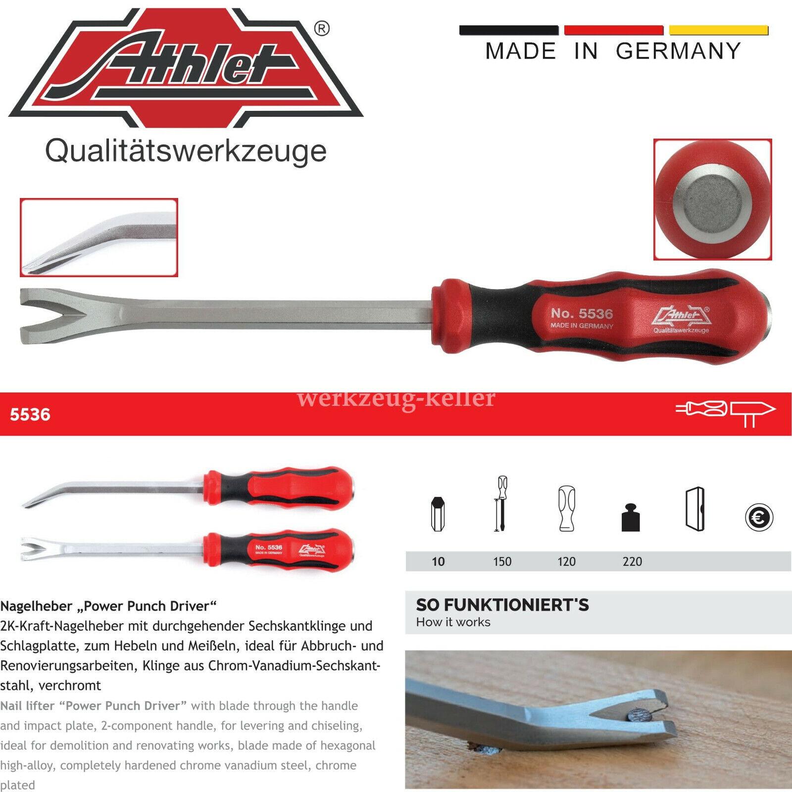 """Athlet 5536   2K-Kraft-Nagelheber """"Power Punch Driver"""" mit Schlagplatte   270mm"""